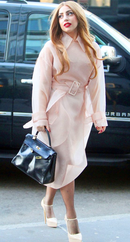 Lady Gaga is perfection in this pale, gauzy trench!