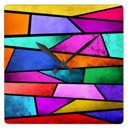 Colorful Stained Glass Abstract Purple Wall Clock - home gifts ideas decor special unique custom individual customized individualized