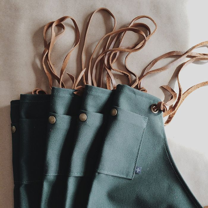 Canvas and Leather Aprons for Studio Choo I designed and crafted