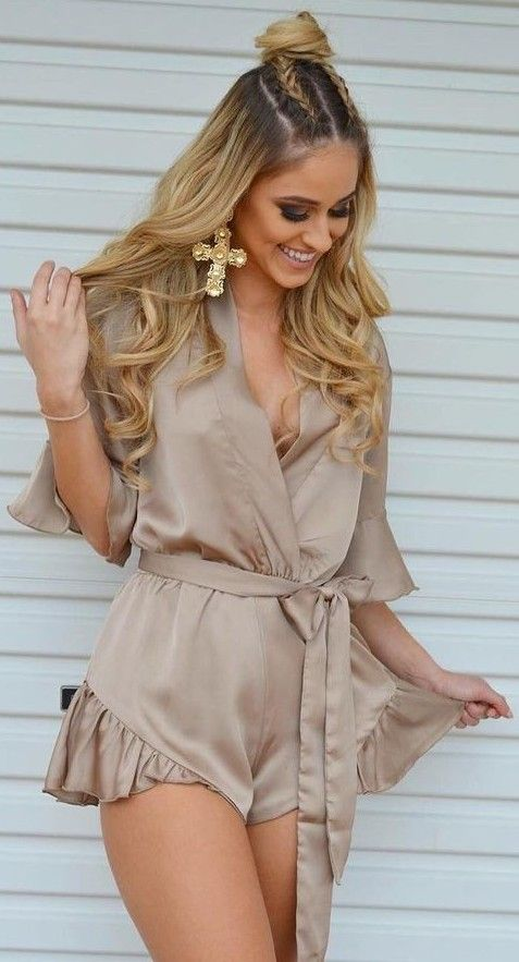 #summer #girly #outfitideas | Nude Playsuit