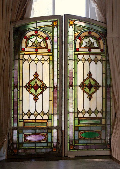 Antique Stained Glass Window....one to hang in front of small middle window in the living room. love this design