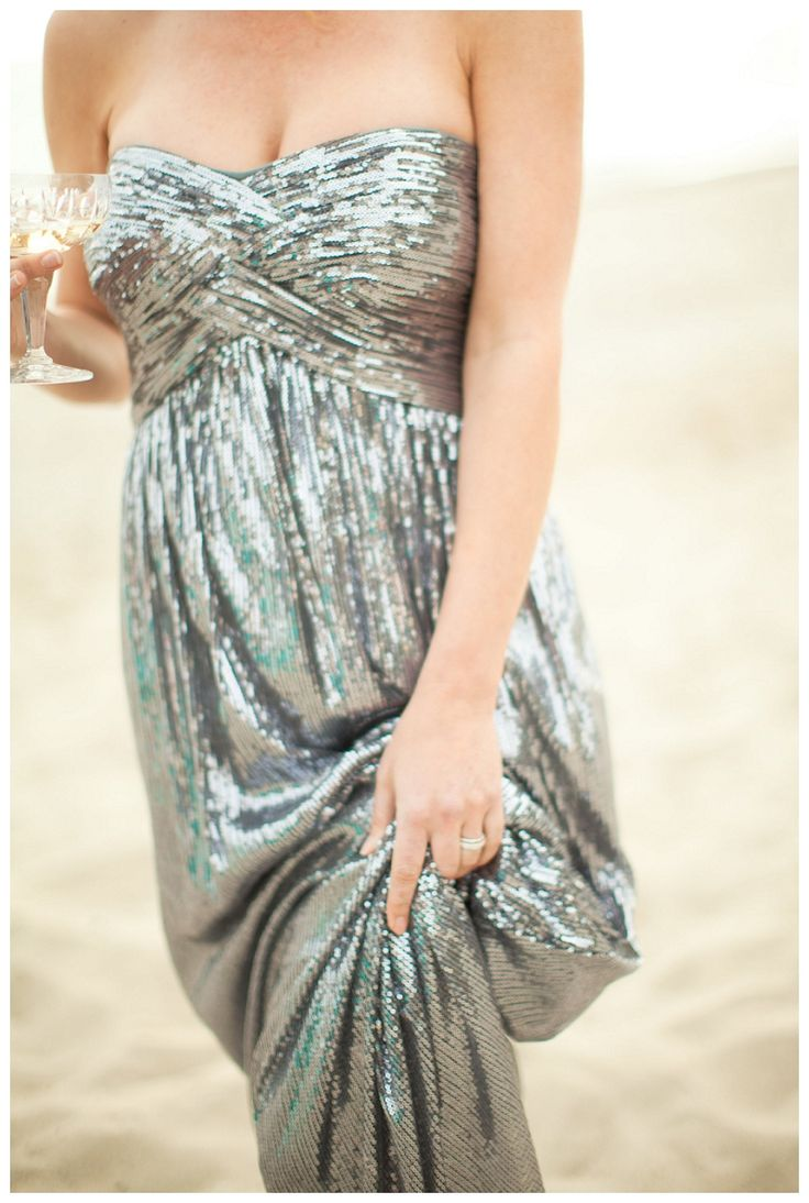 Strapless Silver Bridesmaids Dress Sparkly Silver Dress