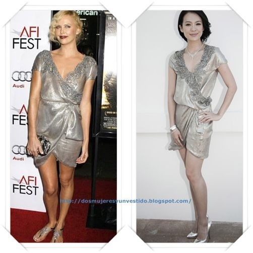 Este vestido plateado de Dior primavera 2010 se lo hemos visto a Charlize Theron; y a Zhang Ziyi