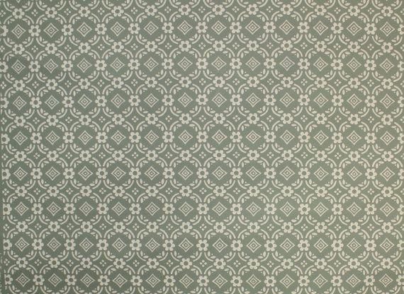 1950s Vintage Wallpaper By The Yard Green And White