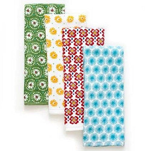 What a wonderful gift for that special someone who enjoys the vintage inspired and vibrant colors of the Pioneer Woman Collection of kitchen products. The Flea Market patterns are cheerful in the kitchen and also very practical. This kitchen linen set includes 4 kitchen towels, an oven mitt and a pot holder. The 4