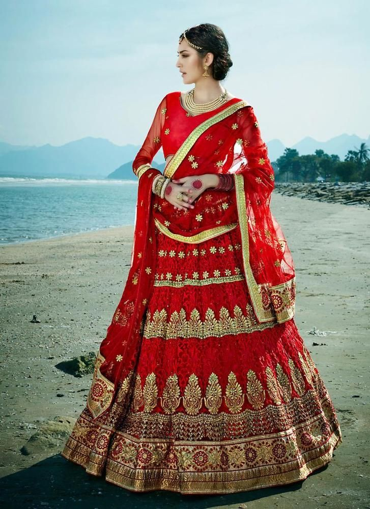Red Bridal Designer Wear Punjabi Indian Lengha Choli In Net