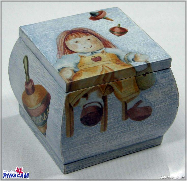 Caja decorada con decoupage - Manualidades cajas madera ...