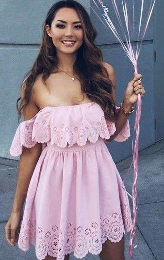Pink Ruffle Dress                                                                             Source