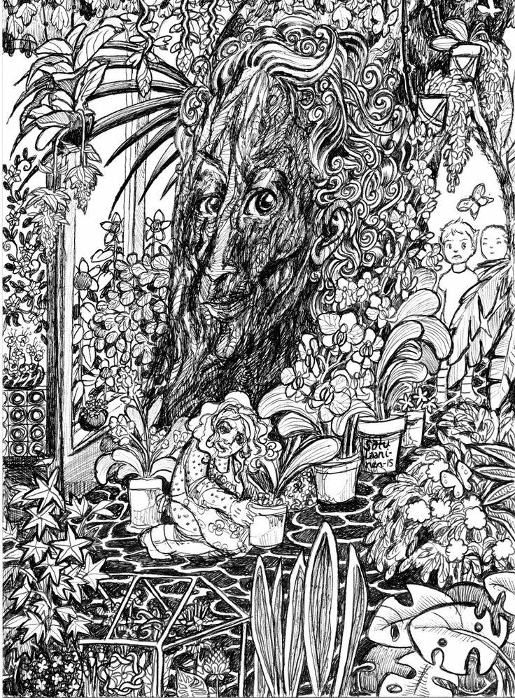 Kasvitieteellinen puutarha, Botania, botanic garden, exotic garden, illustration, gardener, tree with a face