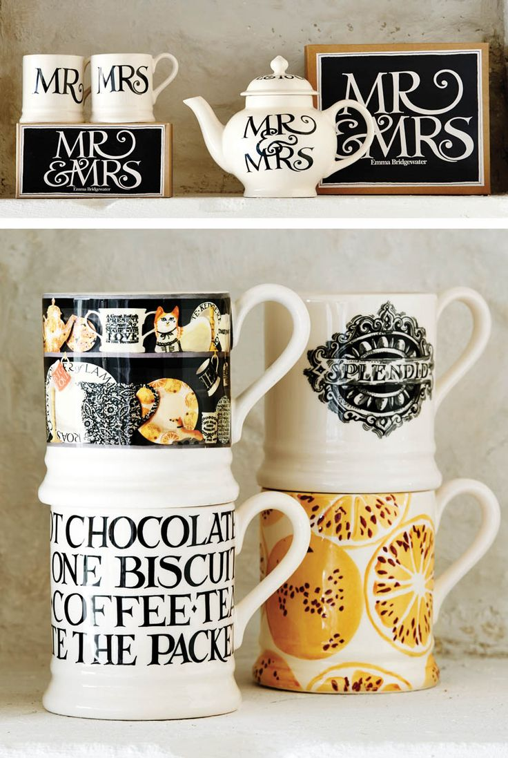 Emma Bridgewater 1/2 pt Mugs & Teapot