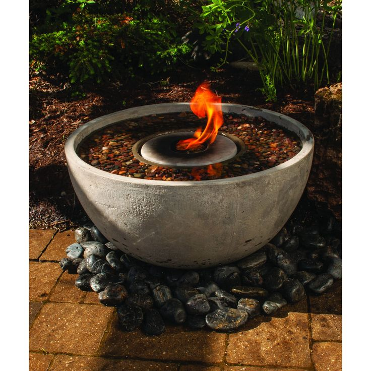 Aquascape Fire Fountain Water Feature with Pump (24 inches diameter, light grey), Beige Off-White (Synthetic Fiber), Outdoor Décor