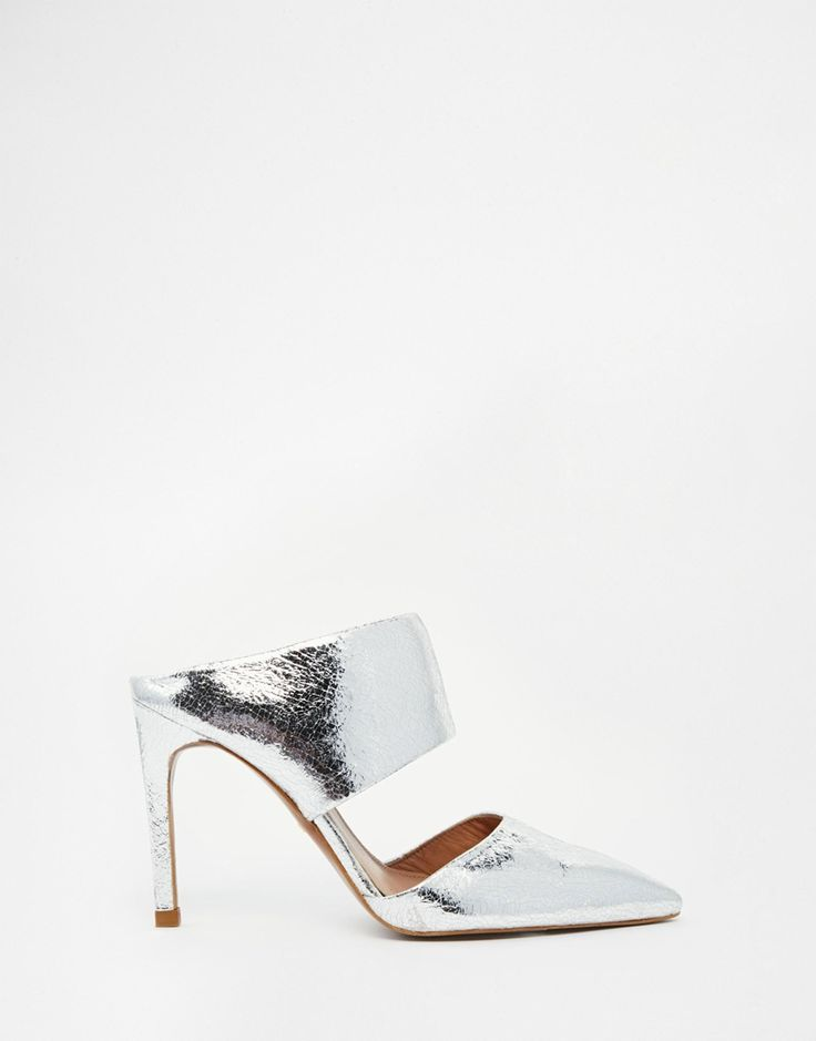 Image 1 ofWhistles Tilla Silver Leather Mules