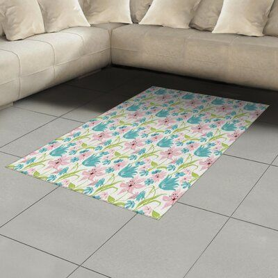 East Urban Home Pink Area Rug Rug Size: Rectangle 4′ x 5'8″