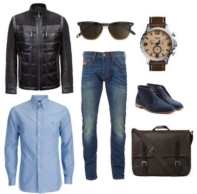 leather jacket - Carl Verssen, sunglasses, watch, blue jeans, briefcase, blue shirt, shoes