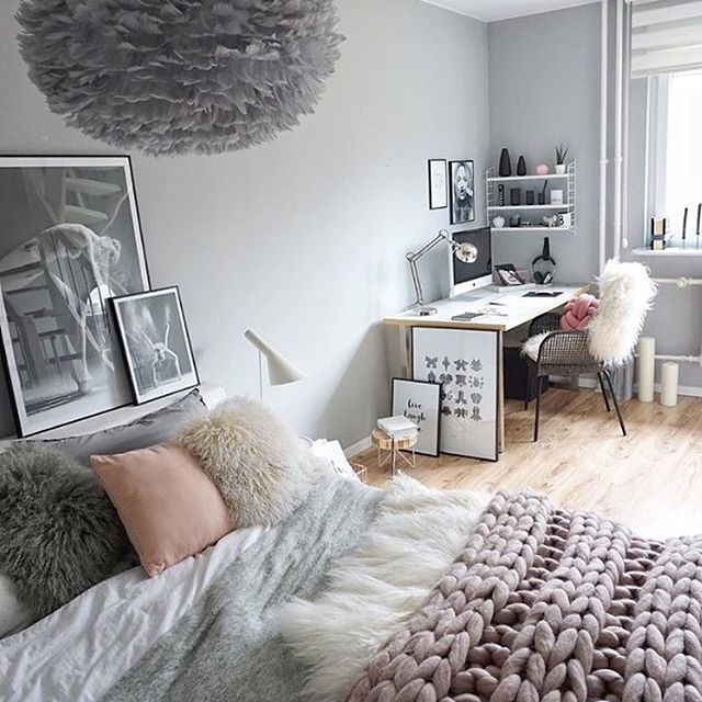 Love the gorgeous bedroom of @easyinterieur  The beautiful Vita Eos light shade in grey is now available to order in our online store ✨ . #bedroom #bedroomdecor #nordichome #nordicinspiration