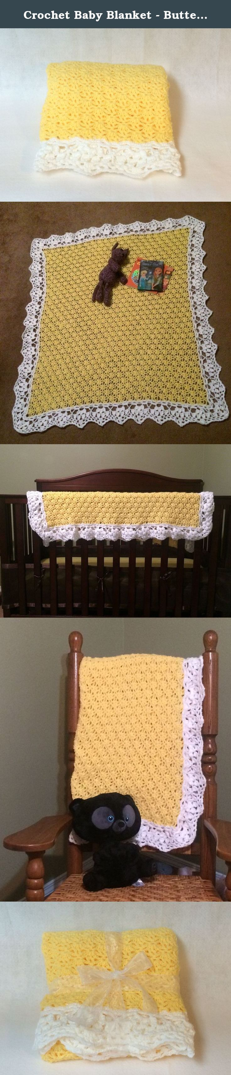 Crochet Baby Blanket - Buttercup. This blanket is the perfect mix of a classic pattern with modern comforts. The crochet lace pattern of butter cups makes up the center of the blanket with a white lace border that mimics the buttercup pattern.