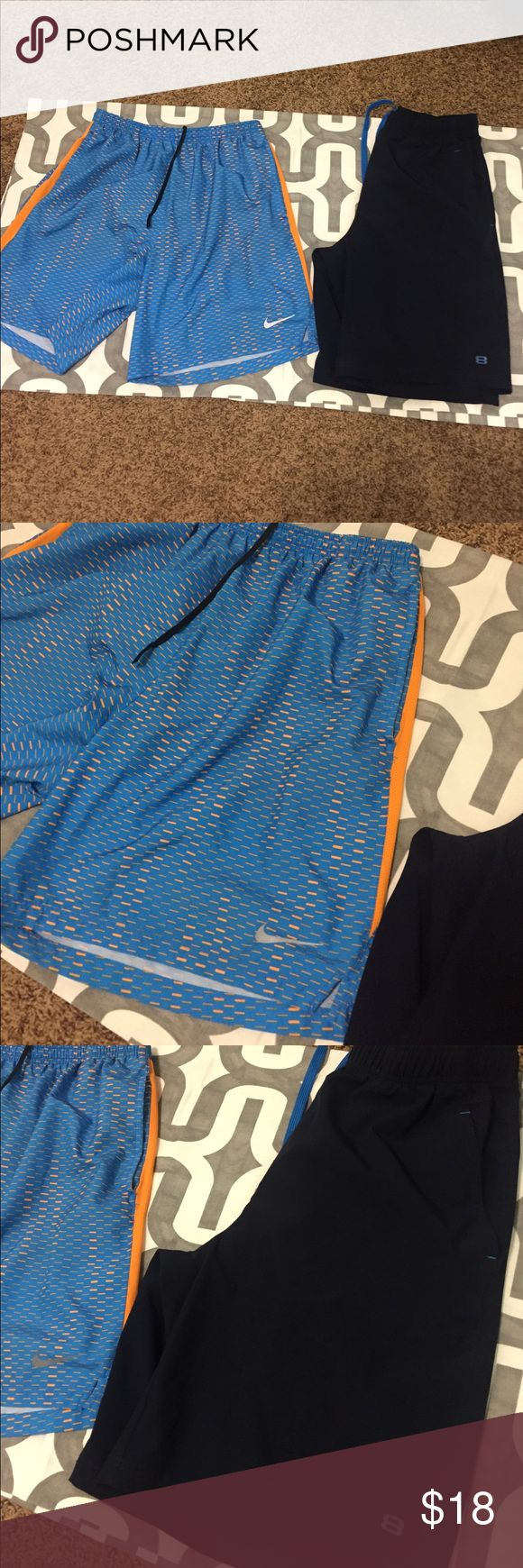 2 pack men's shorts! 2 pack of shorts!  (Price is mostly for nikes and others are bonus, so price will not be lower to separate) orange and blue nikes with lining inside in great condition, size L. Also includes macy shorts with pocket that fit my husband at the same time as the orange blue shorts. Nike Shorts Athletic