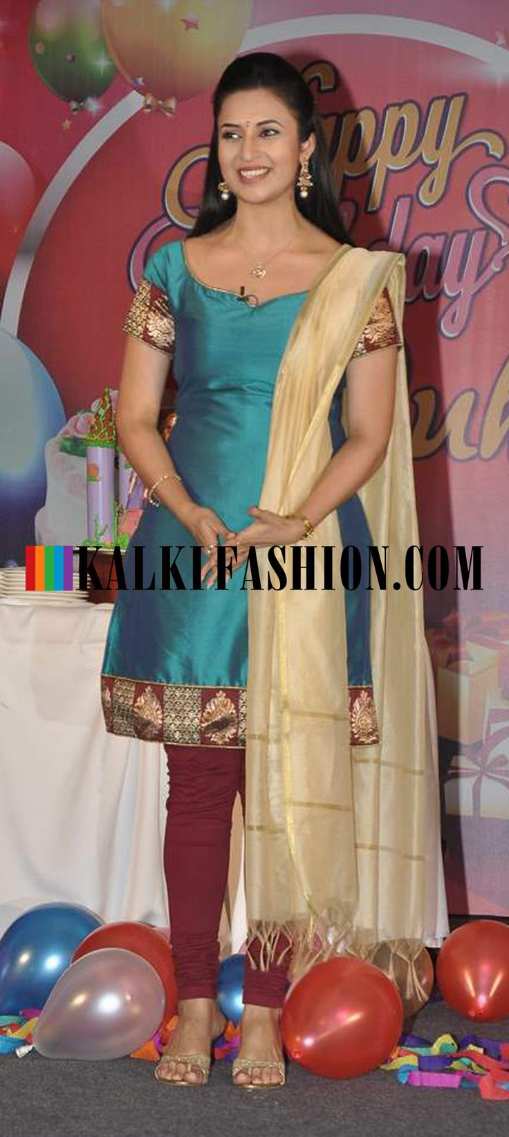 http://www.kalkifashion.com/ Divyanka Tripathi in a blue and red suit at the promotion of her new serial Yeh Hai Mohabbat