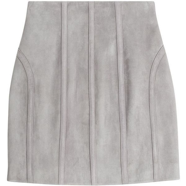Balmain Suede Mini Skirt (€1.283) ❤ liked on Polyvore featuring skirts, mini skirts, grey, grey suede skirt, balmain, balmain skirt, suede leather skirt and slimming skirts