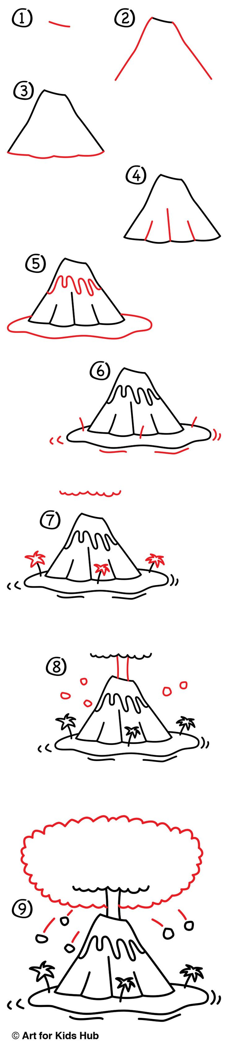 Learn how to draw a volcano erupting and exploding hot lava everywhere! After watching this lesson and following along with us, be sure to add your own details. You could add people on the beach or planes in the sky. Make it awesome, and make it yours!