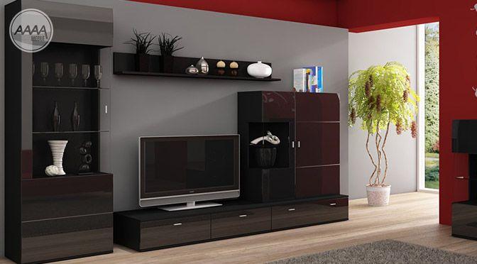 Minimalistyczna czarna meblościanka w salonie