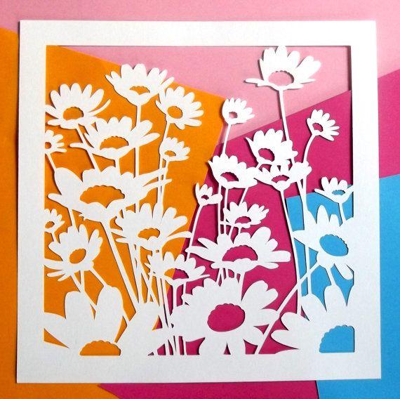 Summer Daisies Paper Cutting van CraftyVectors op Etsy