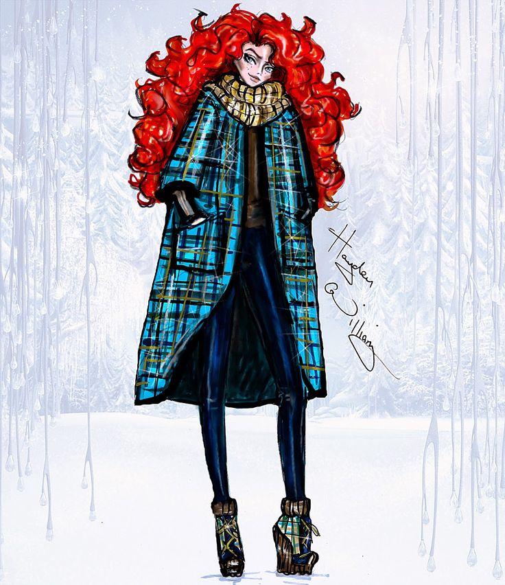 Hayden Williams Fashion Illustrations: Disney Divas 'Holiday' collection by Hayden Williams: Merida