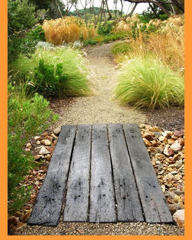 Coastal planting - lovely contrast in textures with the wooden planks
