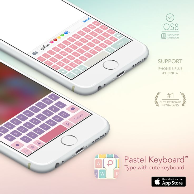 Pastel Keyboard - Type with cute keyboard.    - English keyboard  - Thai keyboard  - 100+ Cute themes  - 30+ Cute sounds  - and many more!  It's time to change your keyboard. Download now.