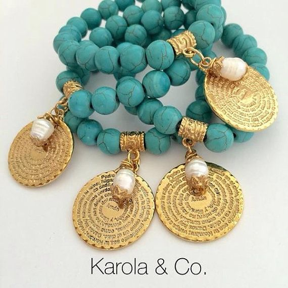 Padre Nuestro Turquoise Bracelet by KarolaCo on Etsy