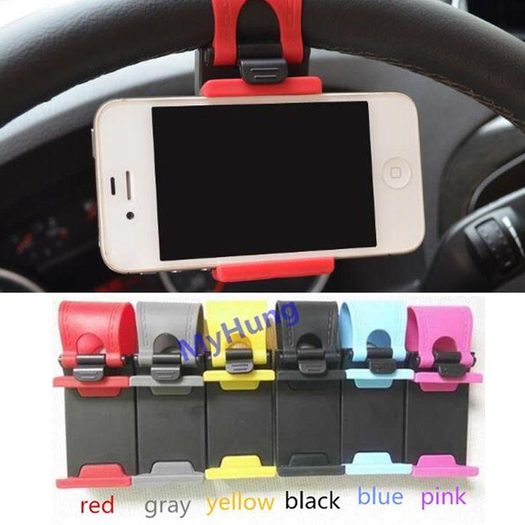רכב הגה רכב הר מחזיק טלפון סוגר גומי בנד עבור iphone se 4 5S 6 s 7 plus עבור samsung עבור xiaomi עבור huawei