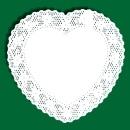 Carte a pizzo a forma di cuore bianco
