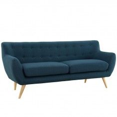 Mid-Century Modern Dark Blue Upholstered Sofa with Natural Wood Dowel Legs - LOW STOCK - CALL TO CONFIRM AVAILABILITY