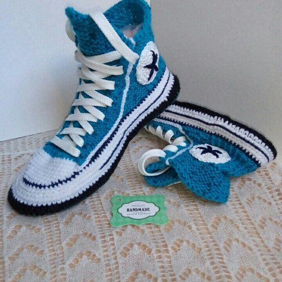 7645153f4959 Knitted Crochet turquoise house woolen women s warm slippers socks type sneakers  Converse 39 as a kn