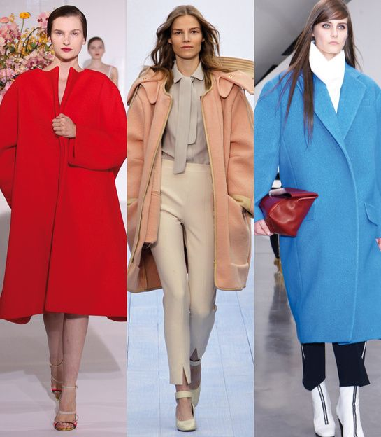 Ci-dessus: Jil Sander, Chloé et Céline ... I love the blue Celine ... think these can be worn sort-of like suiting-size, rather than over-coat style