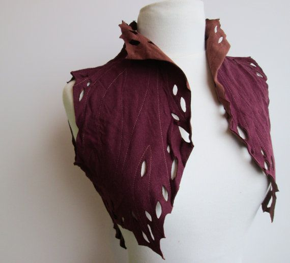 Handmade from Upcycled Tshirts Cedar Tree Fairy Vest, Eco Fashion in Burgundy and Rust