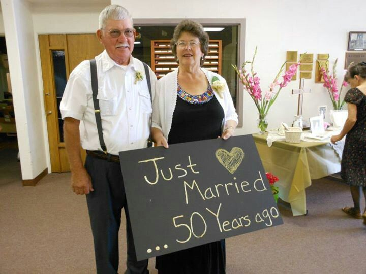 "50th wedding anniversary ""Just Married......50 years ago"" <3"