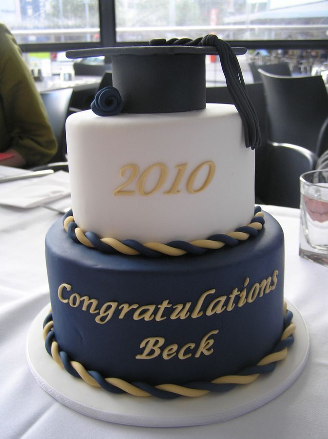 Bottom tier is a 7 choc/orange cake with dark choc ganache, top tier is a 5 white chocolate with raspberries and white choc ganache, all covered in fondant. The navy blue colour was made using equal parts of royal blue and violet, with a drop of black.