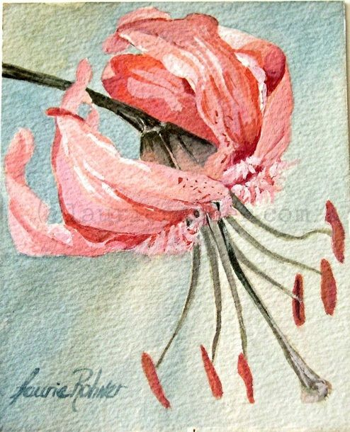 Pink Lily Botanical Watercolor Garden Flower Painting Original Nature Art by…