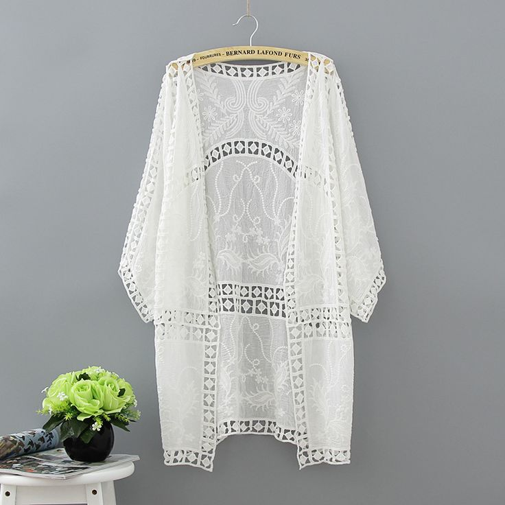 Real shot seaside vacation essential cotton hook flowers short paragraph sweater swimsuit shirt sun coat thin section coat-in Blouses & Shirts from Women's Clothing & Accessories on Aliexpress.com | Alibaba Group