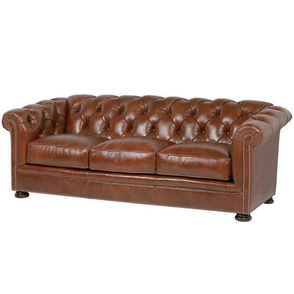 American Made Tufted Leather Sofa