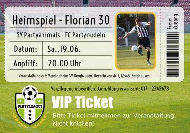 Witzige Einladungskarte mit Foto zum 30. Geburtstag (30. Heimspiel!) als Fußball-VIP-Eintrittskarte #EinladungGeburtstag.de