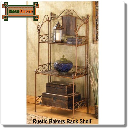 Rustic Bakers Rack Shelf - Baker's rack has just the right mix of rustic romance and roomy shelving! An attractive showcase for decorative treasures, or an ample storage spot for everyday items; blends perfectly into your decor.