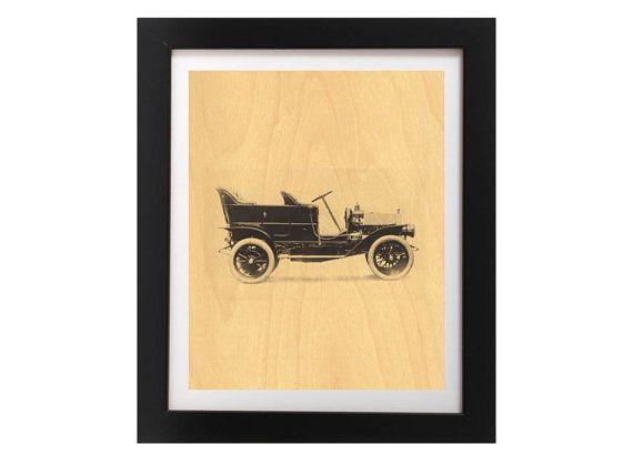 Vintage Car Wood Print  Black Vintage Rustic by TheWoodPaperShoppe