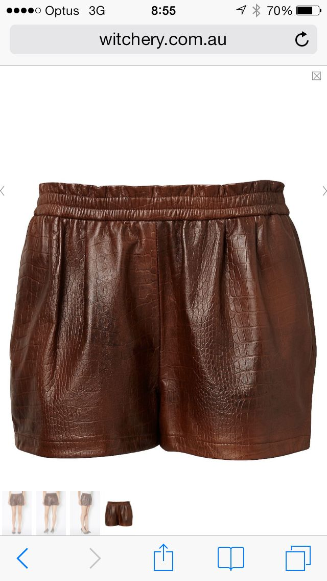 Leather Witchery chocolate shorts