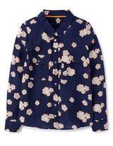 Fleur Silk Shirt (Navy Daisy)
