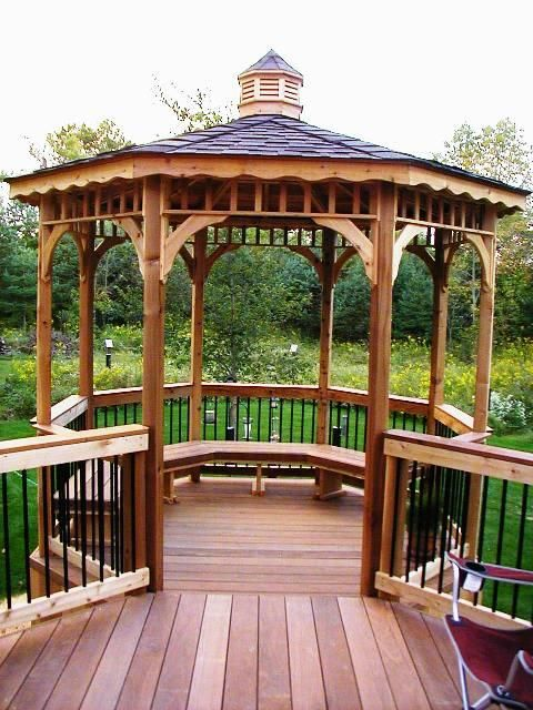17 best images about decks on pinterest deck benches for Deck with gazebo