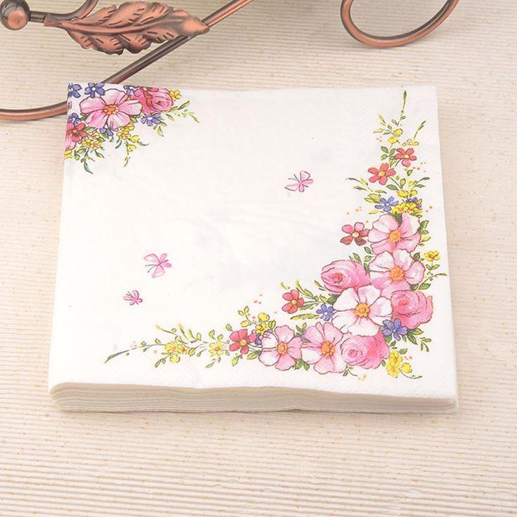2017 New pink flower Paper Napkin Festive & Party Cafe Tissue Napkins Decoupage Decoration Paper 33cm*33cm 20pcs/pack/lot