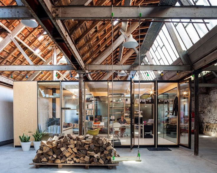 Office Space & Temporary Housing Inside Former Textile Factory // Waarschoot, Belgium.