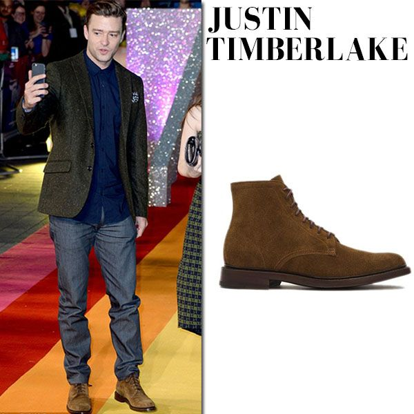 Justin Timberlake in brown suede boots